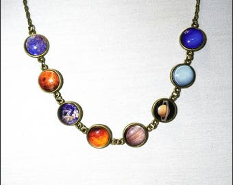 Solar system necklace, planetary necklace, space, universe, astronomy, gift idea, bronze base