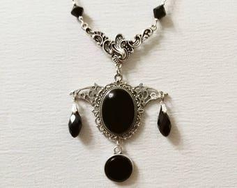Gothic jewelry bat necklace black stone pendant vampire victorian