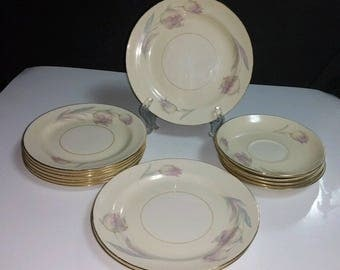 14 Pc Lot of 1940s Homer Laughlin Eggshell Nautilus TULIP Pattern Dinnerware ~ 3 Salad Plates, 6 Bread & Butter Plates and 5 Saucers