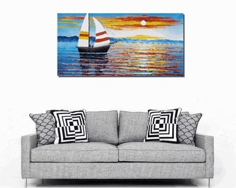 Sail Boat Painting, Original Painting, Oil Painting, Canvas Painting, Modern Painting, Abstract Art, Canvas Wall Art, Landscape Painting
