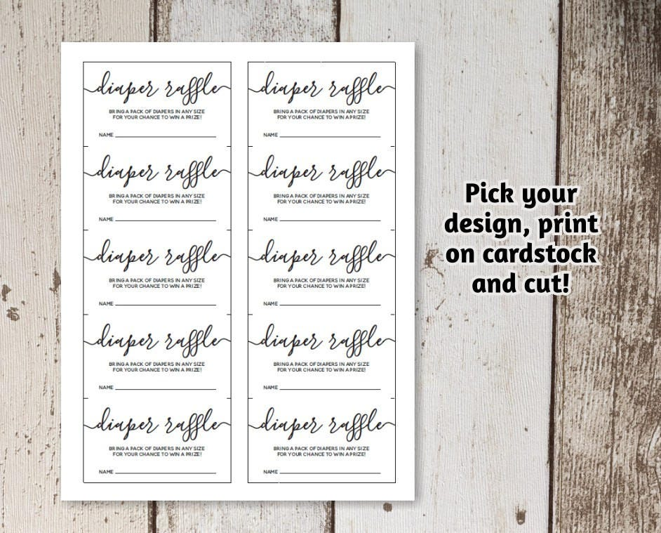 Printable Diaper Raffle Card Template  Baby Ser Invitation