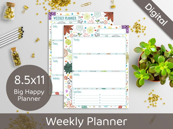 8.5x11 Weekly Planner Printable, Undated Weekly, 2 layouts, WO2P, WO1P, Syasia Cute Floral DIY Planner PDF Instant Download