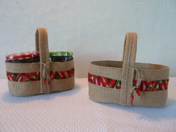 panier ou sac en toile de jute pour pots de confiture miel. Black Bedroom Furniture Sets. Home Design Ideas