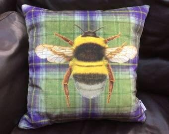 Handmade in the UK, Green & Purple Checked Velvet Bumblebee Cushion Cover