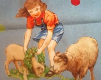 "Vintage Farm Scene Quilting Fabric. 33"" x 26 1/2"", farm children, farm animals, 1950's look, cottage, country, farm"