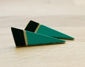 Black and light green wooden earrings, hand painted