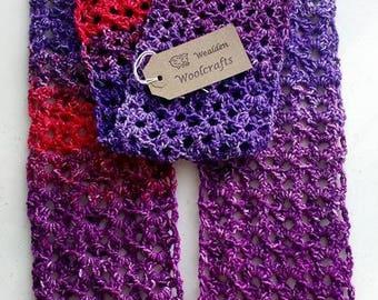 Womens Scarf. Crocheted Scarf. Handmade Scarf. Acrylic/Polyester Scarf. Winter Scarf. Lacy Scarf. Soft Comfy Scarf,metallic shine