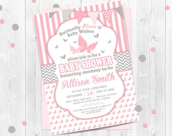 Butterfly kisses baby shower invitation, butterfly baby shower invitations, pink and gray, chevron, printable invitation, butterfly, girls