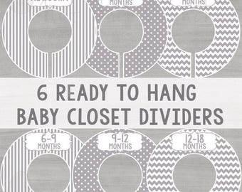 ON SALE - Gray Closet Dividers - Baby Closet Dividers - Baby Clothing Dividers - Grey Closet Dividers - Stripes , Chevron , Polka Dots