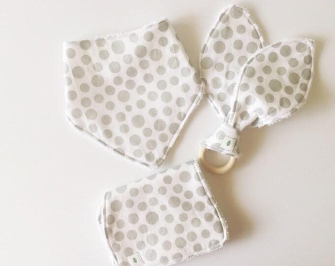 Silver Polka Dot Bandanna Bib, Teether and Burp Cloth Baby Gift Set - Wood Ring Teether - Bunny Ear Teether - White Dot Burp Cloth