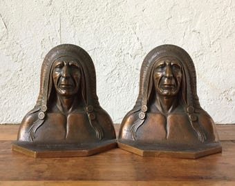 Art Deco Native American Indian Chief Bronze Bookends, 1920s