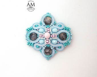 Light Blue Brooch Beaded Agate Stone Light Pink Brooch Large Soutache Brooch Pin Jewelry Gift For Mom