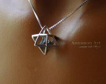 Moldavite Necklace, Merkaba Moldavite Necklace, Moldavite Merkaba, Moldavite Jewelry, silver Jewelry, silver Necklace, silver pendant ,
