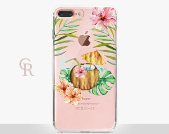 Cocktail Clear Phone Case For iPhone 8 iPhone 8 Plus iPhone X Phone 7 Plus iPhone 6 iPhone 6S  iPhone SE Samsung S8 iPhone 5 Floral