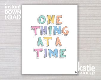 girls wall art - kids wall art - one thing at a time - 8x10 print - instant art - printable art - freehand text - girls rainbow