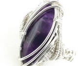 Amethyst gemstone ring wire wrapped in Fine Silver.  Learning to Live In The Present Moment