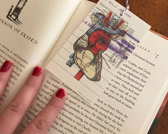 Human Heart Vintage Library Due Date Card Bookmark / Anatomy / Library Nostalgia