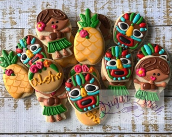 2 Dozen Mini Hawaii Tiki Mask Hula Girl Decorated Cookies Set