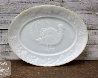 Vintage Milk Glass Turkey Serving Platter • Turkey Serving Tray • Farmhouse Decor • Home Decor