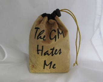 Dice Bag Pouch Velvet Dungeons and Dragons D&D RPG Role Playing Die Gold The GM Hates Me Reversible Lined