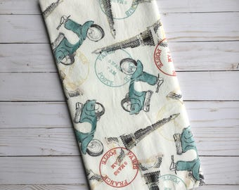 Vintage Paris Baby Blanket - Eiffel Tower Receiving Blanket - Passport Baby Blanket - Baby Blankie