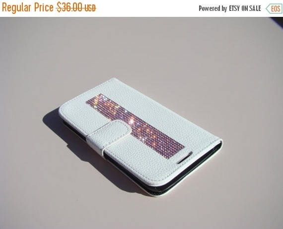 """Sale Galaxy S6  """" Edge """" Pink Rhinestone Crystals on White Wallet Case. Velvet/Silk Pouch bag Included, Genuine Rangsee Crystal Cases."""