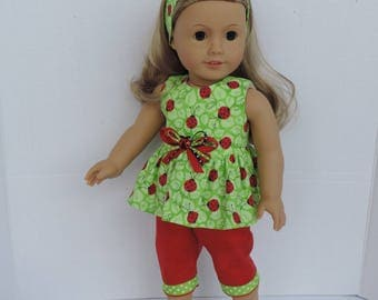 Summer Ladybugs Top, Capri Pants and Headband for American Girl and other 18 inch dolls
