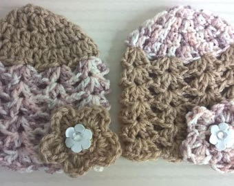 All baby twin hats Duo of flowers