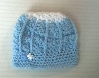 Blue wool baby boy 0/3 months Hat handmade crochet rib relief with bears