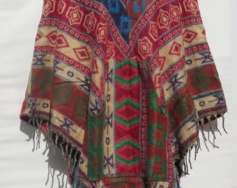 Poncho 2 Button Hood & Pock/et Fringe Boho Bohemian 60s Designer Style Hippie Handmade Himalayan Handloomed Yak Wool Blend Shawl 1 Size 9585