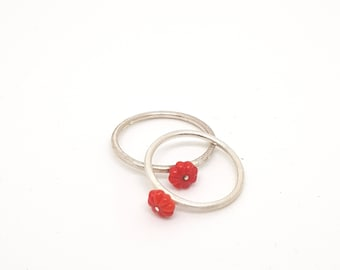 Silver red flower vintage glass ring, vintage glass, flower ring, red ring, silver ring, color ring, minimalist