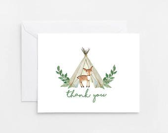 Woodland Thank You Card, Printable Card, Baby Shower Invitation  (826)