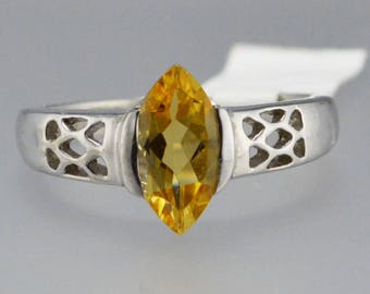 Citrine Sterling Silver Ring, Rhodium Plated, Natural Marquise Citrine, November Birthstone