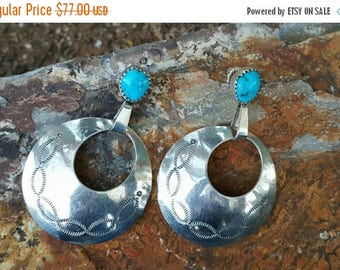 JEWELRY SALE Native American Navajo Sterling Silver and Turquoise Circle Hoop Earrings
