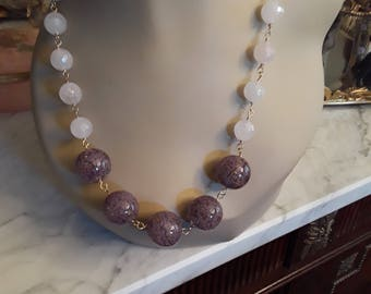 Rosequarts faceted beaded necklace with artist made glass beads