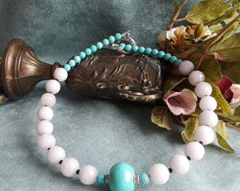 Turquoise and jade one strand necklace