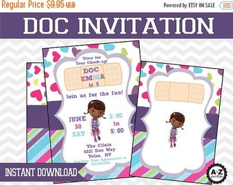 60% OFF Doc McStuffins Blank Invitation, Instant Download, DIY, JPEG, Printable Invitation, Doc Mcstuffin invite for using Microsoft or word