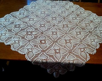 Elegant Vintage Handmade Crochet Lace Doily White Upcycle Cotton Rectangular  Reversible Small Lace Tablecloth Topper Dresser End