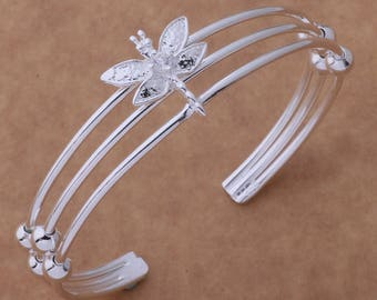 Dragonfly Cuff Sterling Silver Bracelet