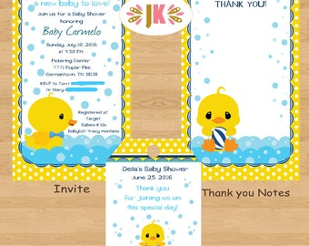 Rubber Duck Ducky Baby Boy Shower Printed Invitations