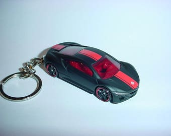 3D Acura NSX custom keychain by Brian Thornton keyring key chain finished in matt black color trim CONCEPT 2012