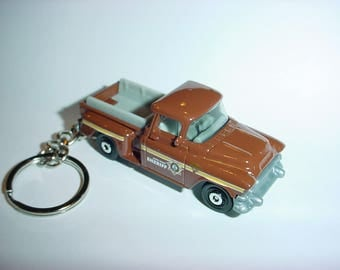 3D 1957 GMC Stepside custom keychain by Brian Thornton keyring key chain finished in brown Sheriff trim