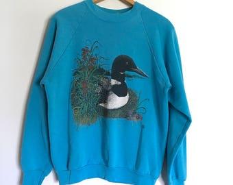 Vintage 90s Mother Duck Aqua Teal Sweatshirt Size Large