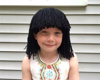 Short Black wig, Cleopatra costume, Costume wig, Cleopatra wig, Flapper costume, Kids wigs, wigs for adults, yarn wigs, Halloween costume