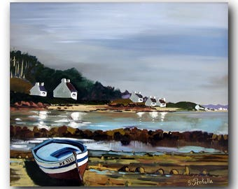picture of a Brittany North near Perros-Guirec landscape oil painting format55x46