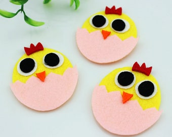 Die Cut Easter eggs,55X45mm Yellow Chicken with pink eggs, Felt Chicken, Easter Decor (Pack of 30pcs)
