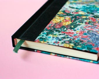 Small Sketchbook/Notebook with hand-marbled paper