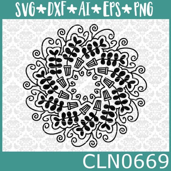 CLN0669 Potted Plant Zentangle Mandala Intricate Drawing SVG DXF Ai Eps PNG Vector Instant Download Commercial Cut File Cricut Silhouette
