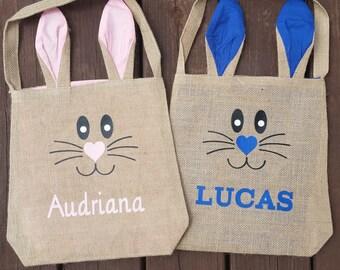 Easter Basket | Personalized Easter basket | Monogrammed Easter basket | Burlap Easter Basket | Easter Bunny Basket | Easter Bag |