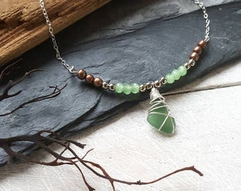 Genuine Irish Seaglass beaded bar necklace
